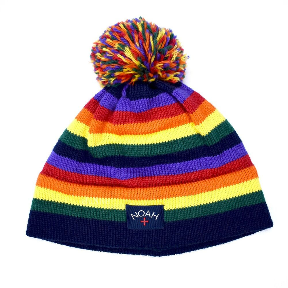 Details about NWT Noah NY Rainbow Stripe Knit Core Logo Wool Beanie Made in  USA FW18 AUTHENTIC 218d2e78386