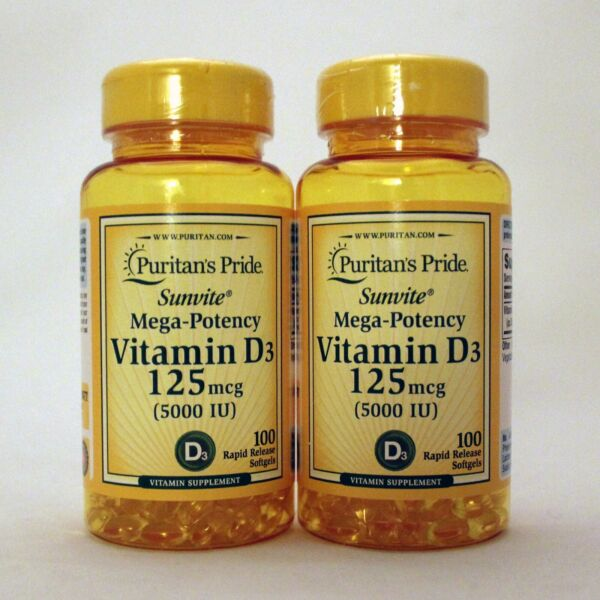 Puritan's Pride Mega-Potency Vitamin D3 5000 IU 200 Softgels 100 x 2 Supplement