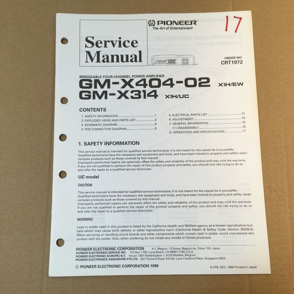 details about pioneer service manual crt1972 for gm-x404-02 -x314 (power  amplifier)