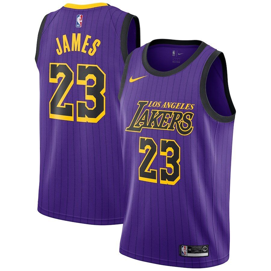 83da353f4f4 Details about Nike 2018-19 NBA Los Angeles Lakers LeBron James 23 City  Edition Swingman Jersey