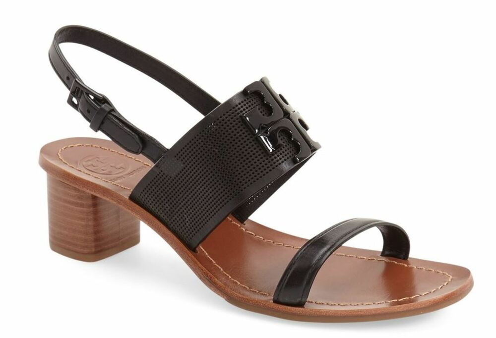 b5aa5c5ceef4 Details about Tory Burch Lowell 2 Perforated Leather Sandal Black Size 10.5  M