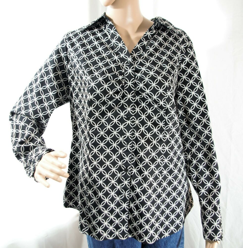 0fdef4402ed Details about Lane Bryant Women s Black White Geometric Long Sleeve Blouse  Size 14
