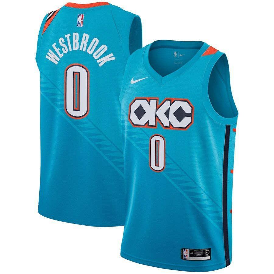 6f98dec4b12 Details about Nike 2019 Oklahoma City Thunder Russell Westbrook 0 City  Edition Swingman Jersey