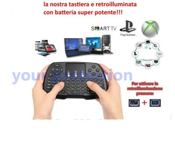 Tastiera wireless Touchpad Mouse per Android TV BOX Smart TV PC Notebook