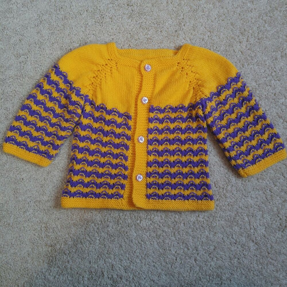 cfb4e179d Vintage 70s Hand Knit Sweater Girl 24M Baby Toddler Cardigan Gold ...