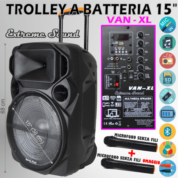CASSA PORTATILE Ricaricabile TROLLEY AMPLIFICATA 1000Watt BLUETOOTH RADIO USB XL