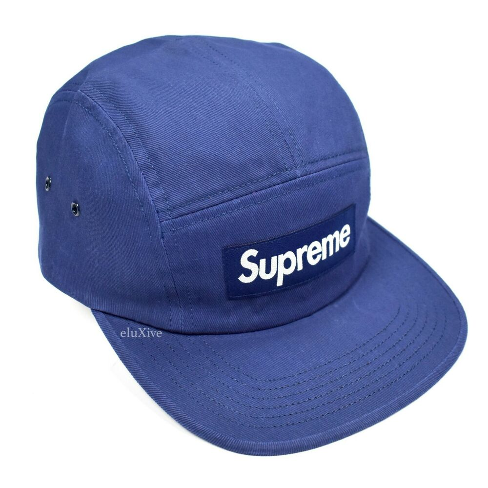 2df972f072a Details about NWT Supreme NY Dark Blue Box Logo Heat Reactive Camp Cap Hat  SS18 DS AUTHENTIC