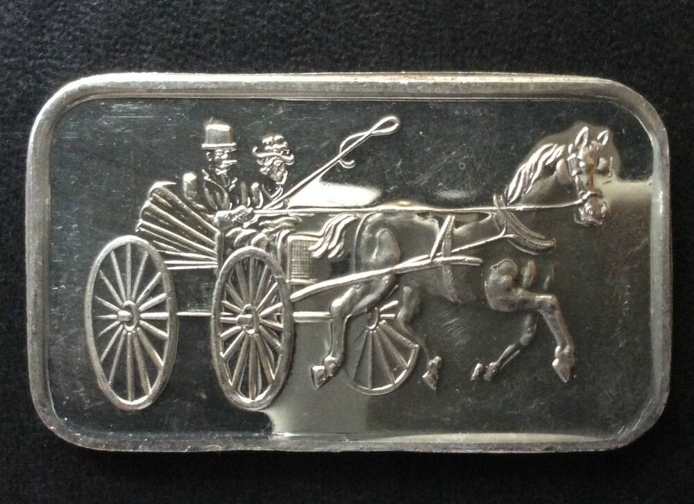 1973 Silvertowne Mint Horse And Buggy Silver Art Bar St 1