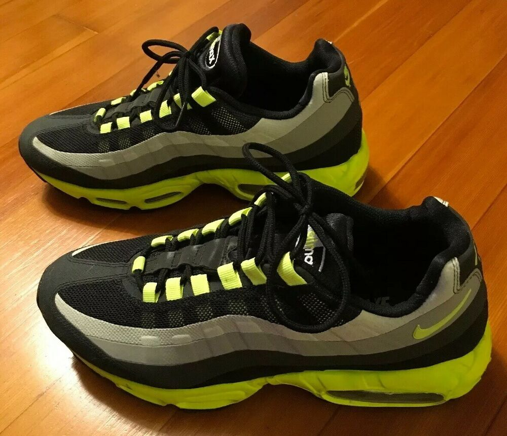 52251085eda 2013 Men s Nike Air Max 95 No Sew Black Volt Lime Green (616190-070) Size  10.5