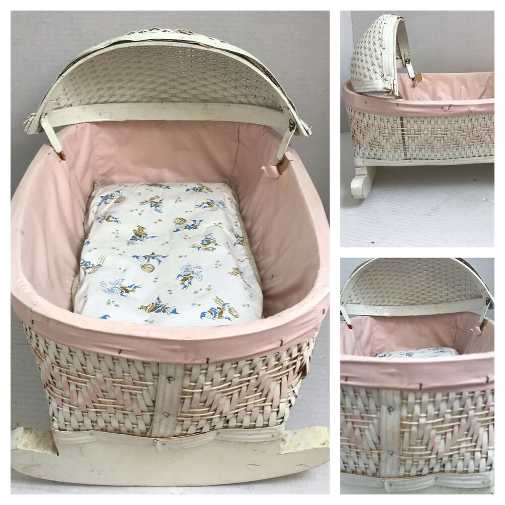 Vintage White Amp Pink Wicker Wooden Rocking Baby Doll Bed