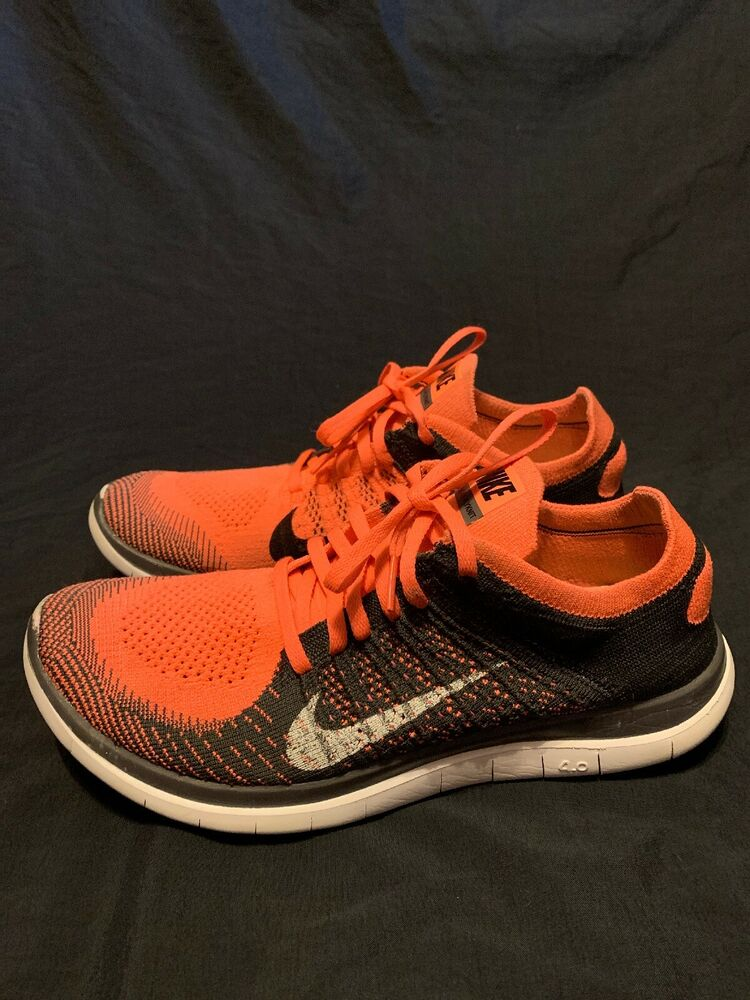 first rate 1a019 cec67 Details about Nike Free 4.0 Flyknit Mens Running Shoe Size 10 Black Orange Red  631053-011
