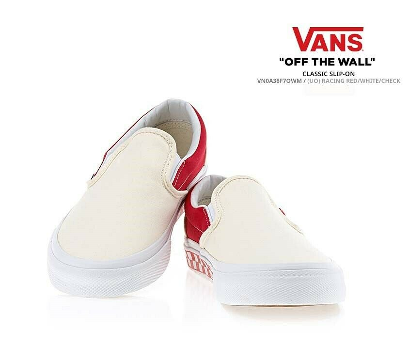6c319060a44 Details about Vans Classic Slip-on Athletic Shoes Unisex Sneakers Red White  Check US M 7.5-10