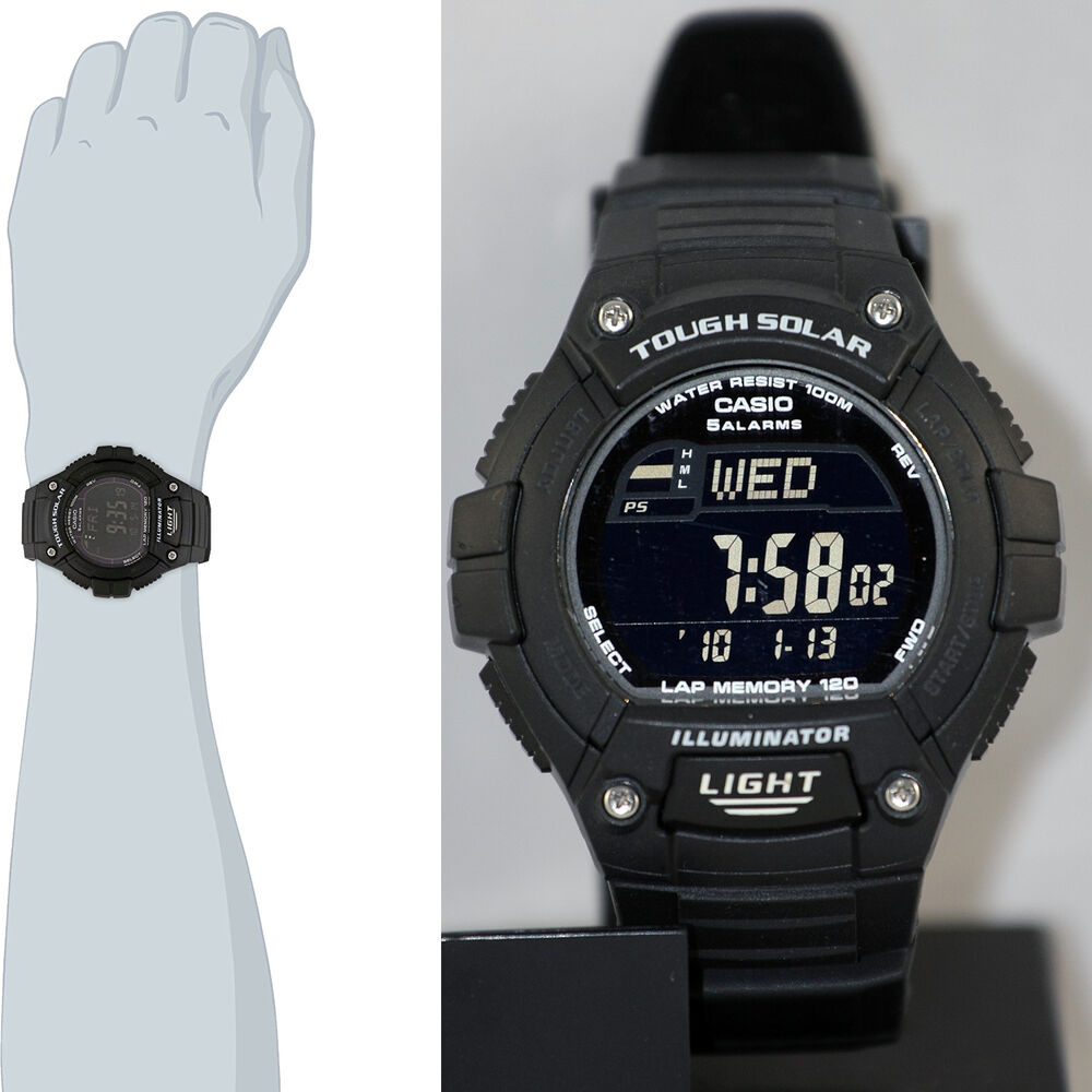 cbfe95d4f Details about Casio WS-220-1B Tough SOLAR Watch 120-Lap Memory Stopwatch  Sports Brand New