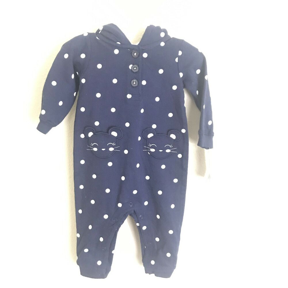 4c67ba8934c3 Details about NWT Carter s Baby girls Hooded Fleece Jumpsuit One Piece 6  months polka Dots A39