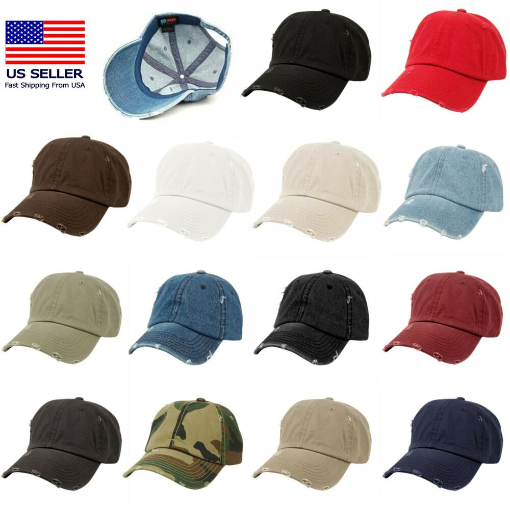 d5aa64c589d4fa Details about Vintage Distressed 100% Cotton Solid Polo Denim Baseball Cap  Hat Ball Dad Washed