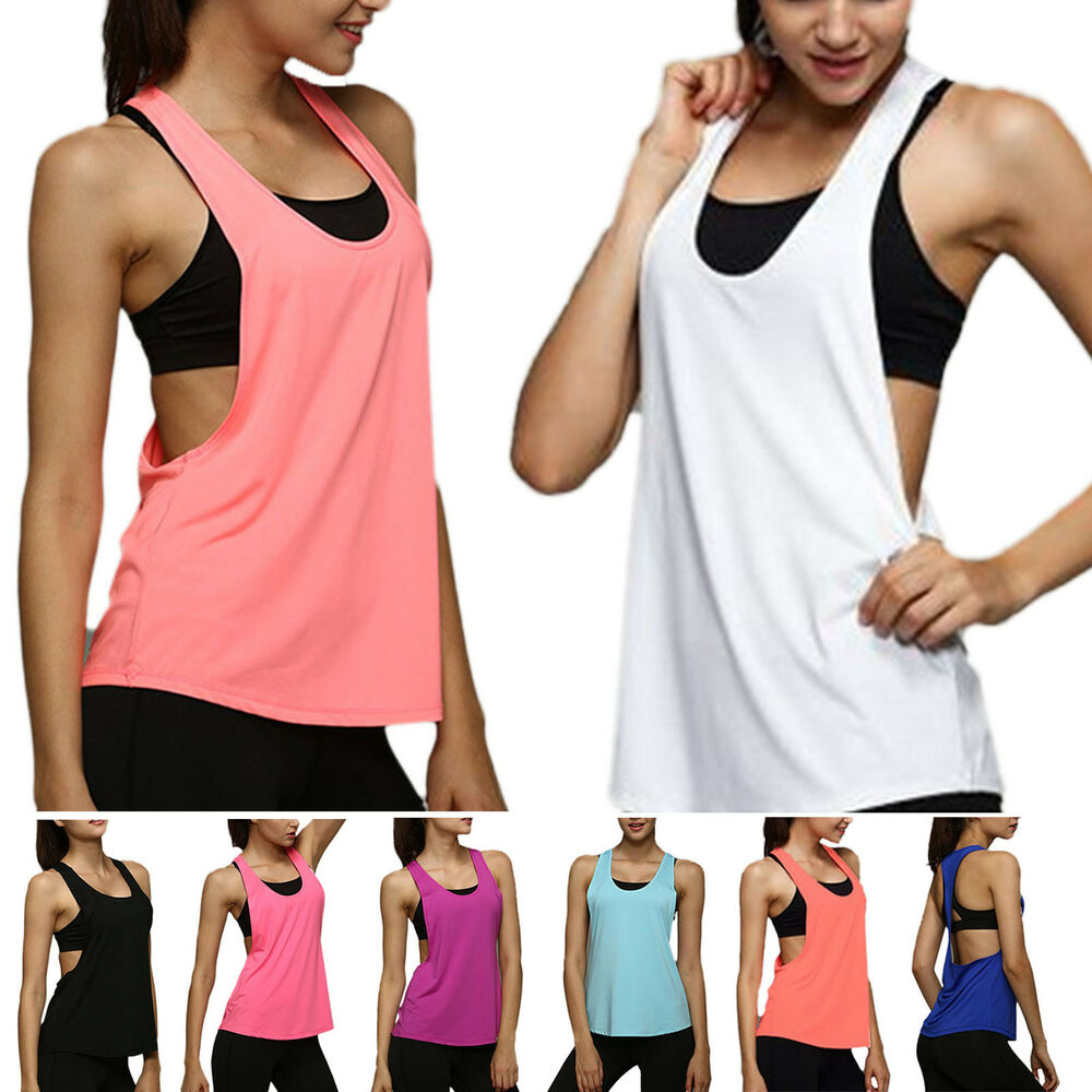 9faefde75fb58 Details about womens sporty fitness exercise jogging loose vest tank tops  shirt summer jpg 1000x1000 Vest