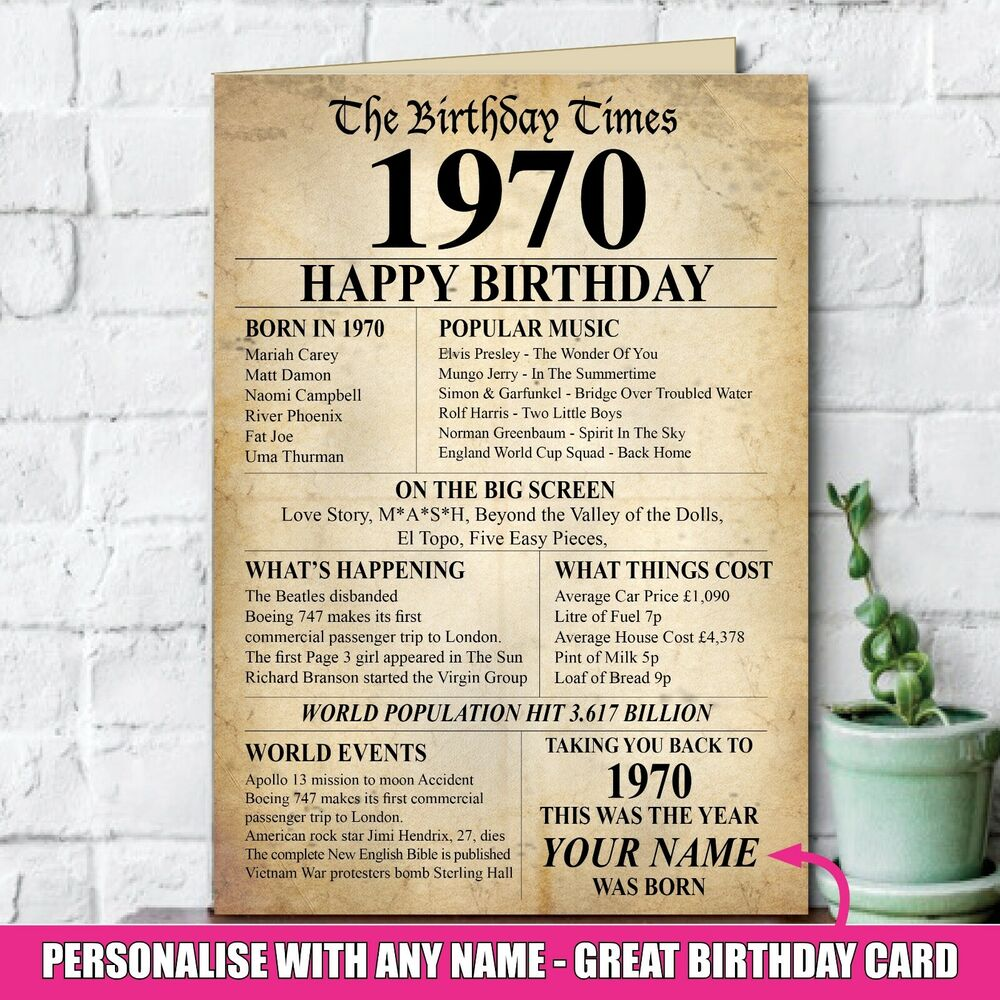 Details About 1969 50th Personalised Happy Birthday Greeting Card Memories Year Of Birth 140