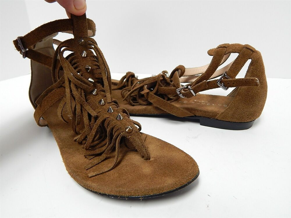 1eac925ea09d Details about Barbara Bui Italy 38 7.5 M Brown Suede Leather Strappy Fringe  Studded Sandals