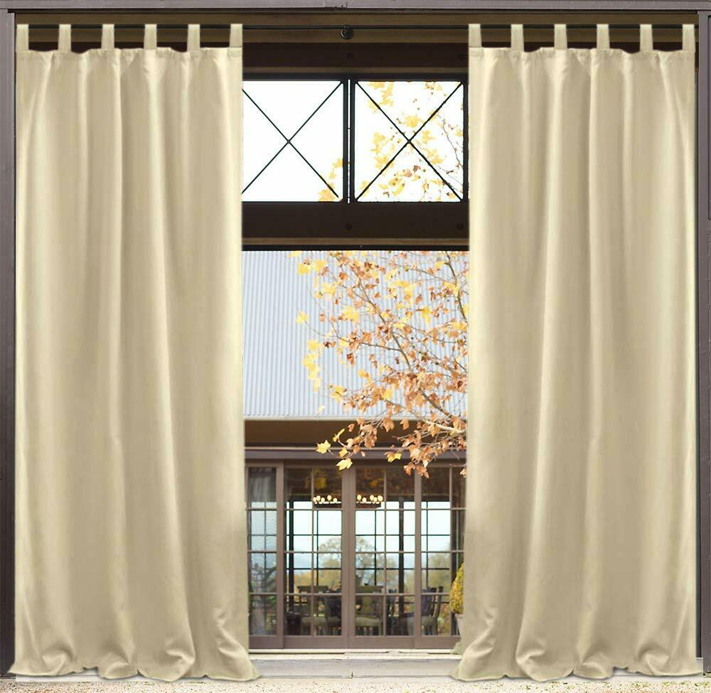 Details About Blackout Uv Ray Protected Waterproof Outdoor Curtains Drape 50x120 Inch 2pack