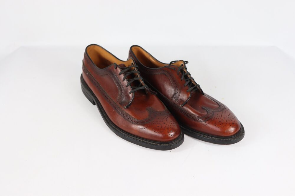 06459115e9c Details about Vintage 80s JCPenney Mens 12 EEE Pebbled Grain Leather  Wingtip Dress Shoes Brown