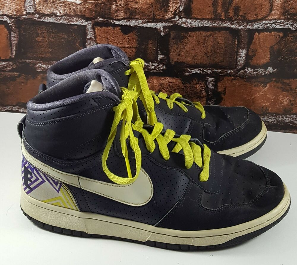 best website f5ff7 4f58f Details about Nike Big Nike High Woven Navy Yellow-White 366726-011 Men  Basketball Shoes Sz 9