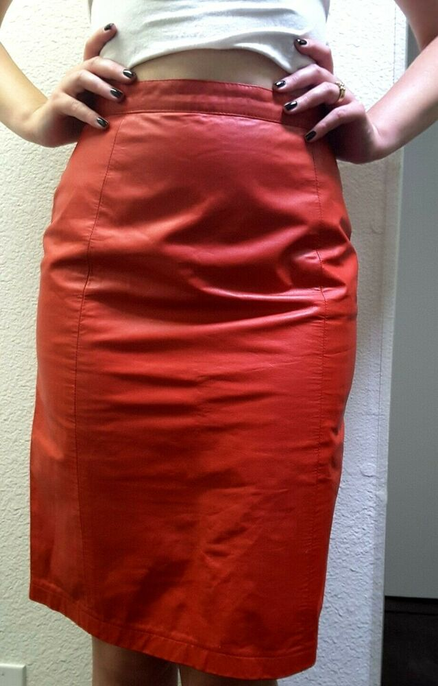 281f6d3ff1 Details about Vintage BOMBSHELL Skirt Red HOT 80S ROUGE GENUINE Leather  ARGENTINA AMATI SEXY