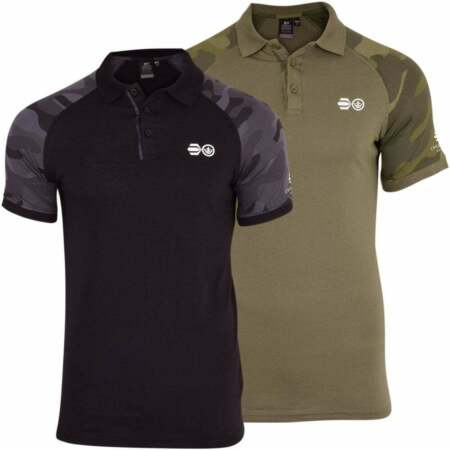 img-Mens Polo Shirt Crosshatch Collared Camo Cotton T Shirt Short Sleeved Casual Top