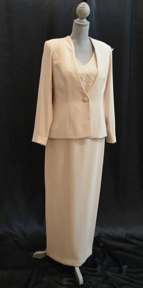 6350464b430 Details about Karen Miller Champagne formal Beaded Mother of the bride gown    jacket Size 8