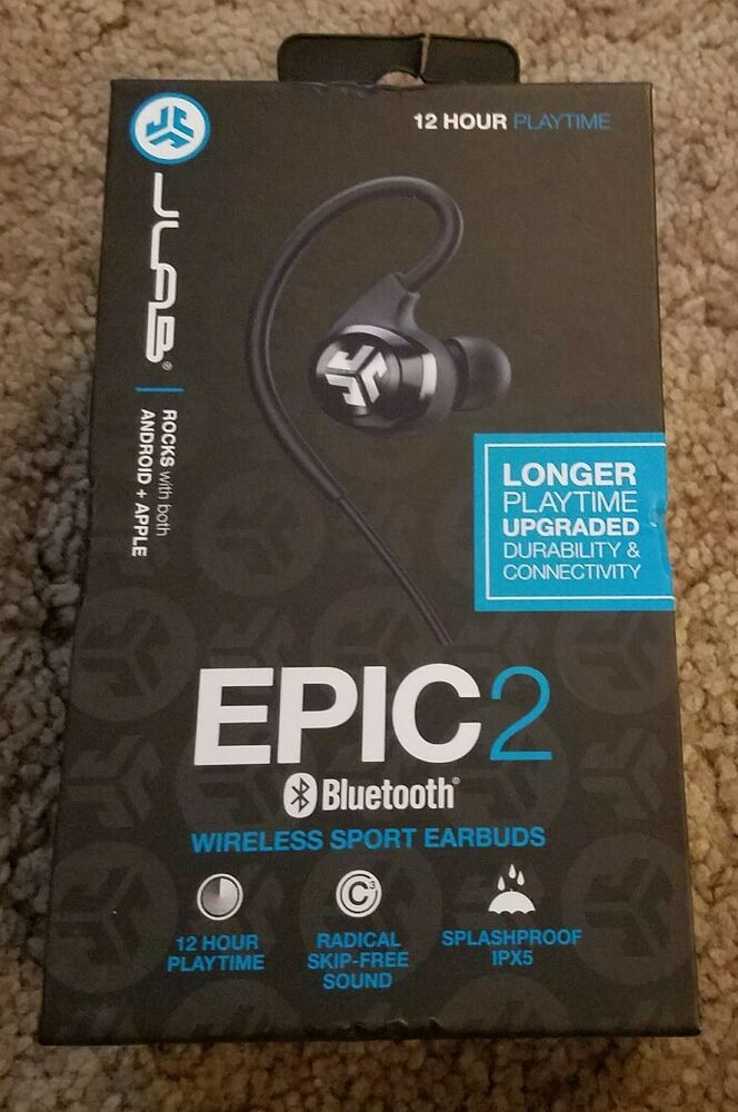 4c9948451d9 Details about JLab Epic2 Bluetooth 4.0 Wireless Sport Earbuds *Brand New*  Black
