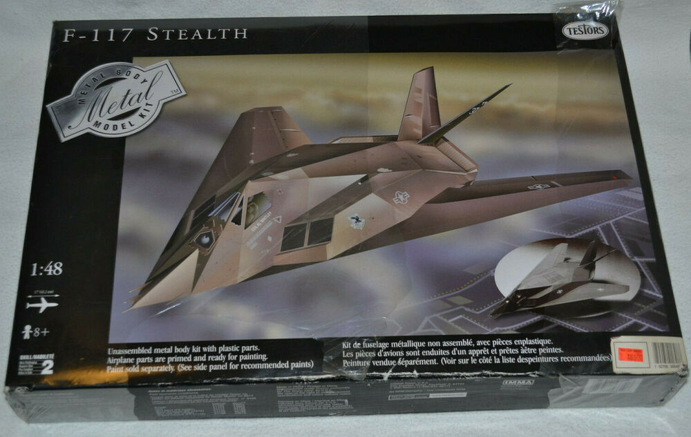 F 117 Stealth Military Jet Testors 148 Scale Metal Body Model Kit