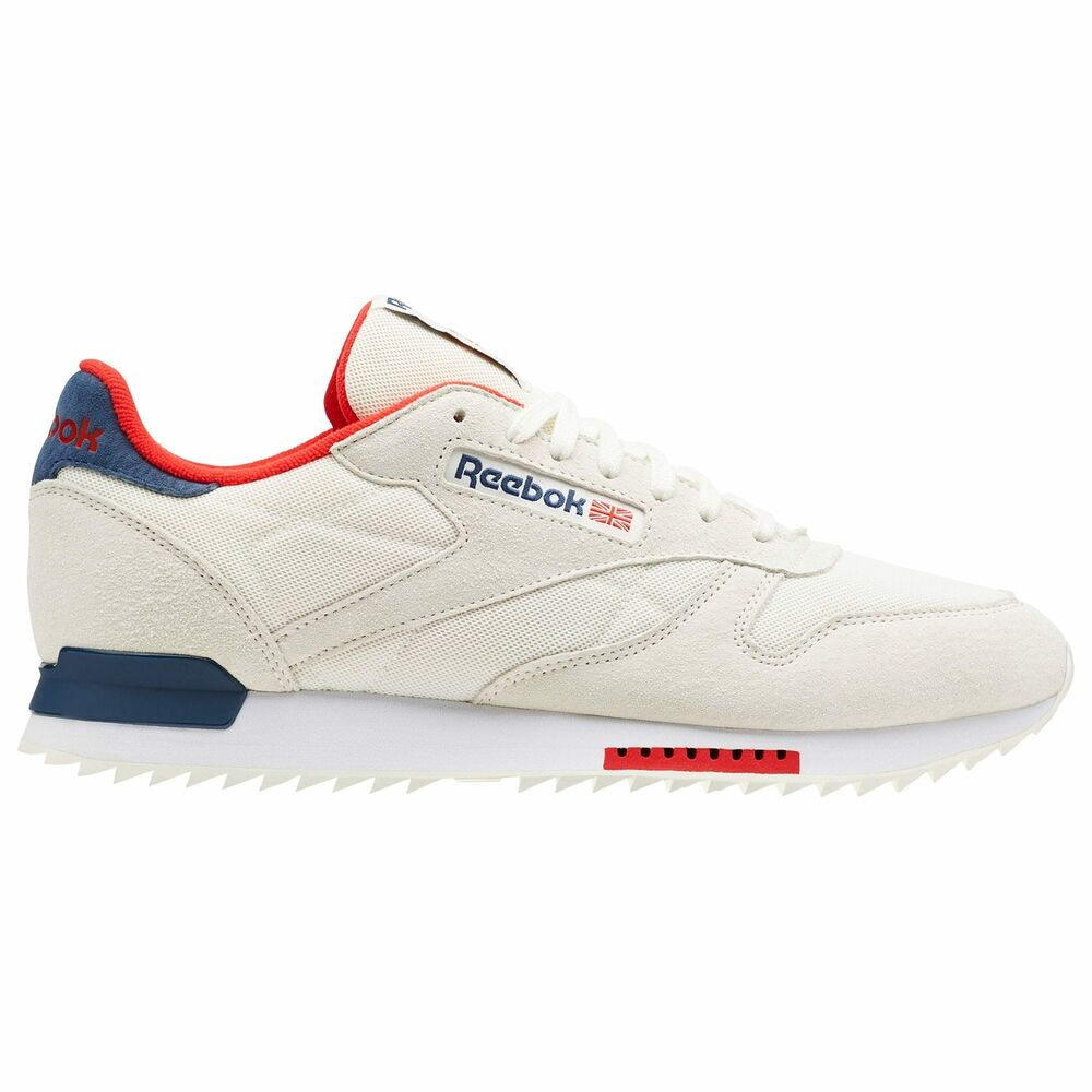 2741d6b696d Details about Reebok Classic Leather Ripple Clip Men s Chalk Washed  Blue Primal Red CN5982