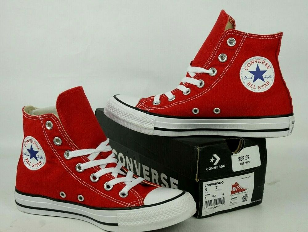 5962943ea930 Details about Converse Sneakers All Star Chuck Taylor Unisex Red Hi Top  Canvas Shoes M 5 W 7