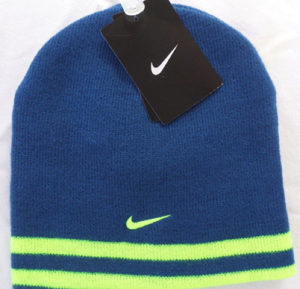 67bff2ac07ddb Details about Youth Boys Size 8 20 Nike Stretch Knit Winter Beanie Reversible  Hat Blue Volt