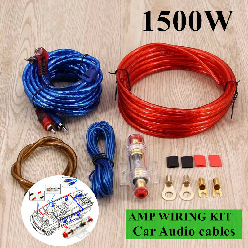 details about 1500w 8gauge cable car audio kit amp amplifier install rca subwoofer  sub wiring