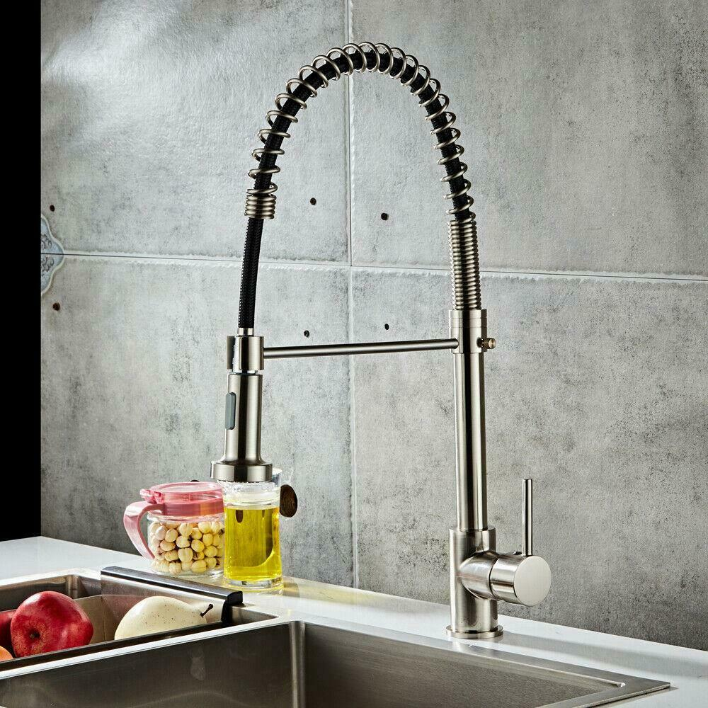 Details About Spring Single Handle Hole Kitchen Sink Faucet Pull Down Sprayer Mixer Tap