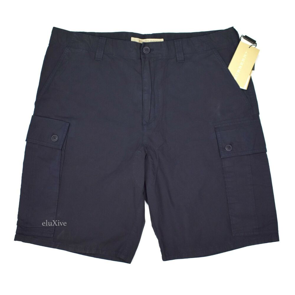 b43371733b Details about NWT $295 Burberry Men's Navy Blue Cotton Leather Logo Cargo  Shorts AUTHENTIC