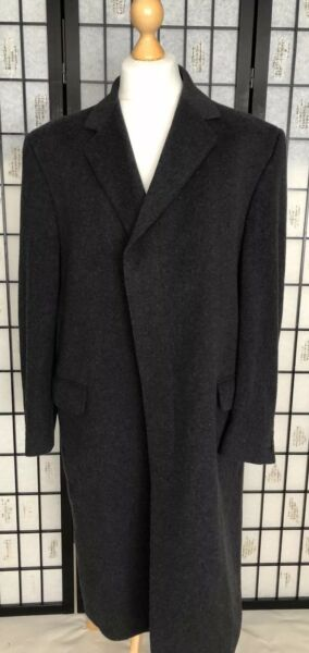 Dehavilland De havilland Grey Charcoal Cashmere Wool Overcoat Coat Large XL 44R