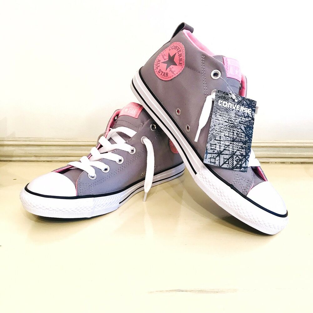 cc5ae665b6a5 Details about Youth Girls Size 6 Converse Chuck Taylors Shoes Gray Pink  Silver Hi Top Sneakers