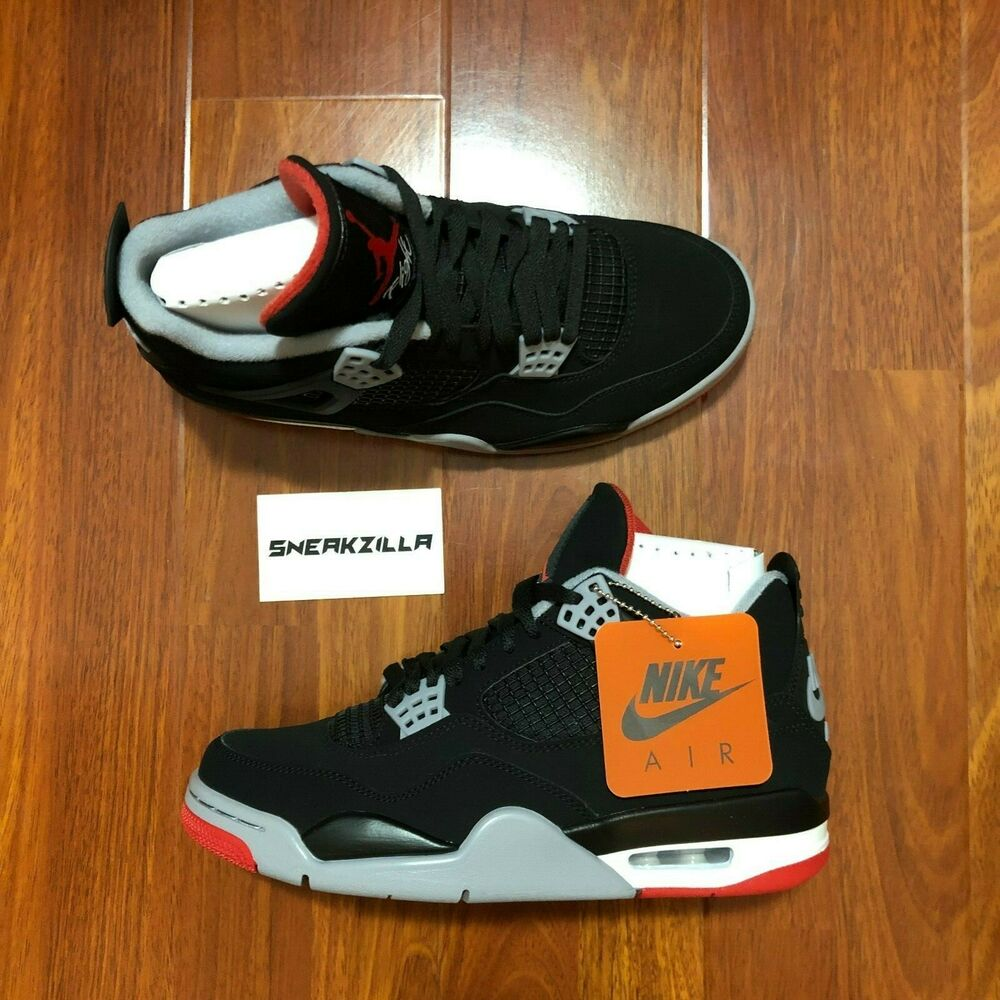921df627451 Details about Nike Air Jordan Retro IV 4 BRED 2019 Black Red Cement Grey  308497-060 Sz 4y-15