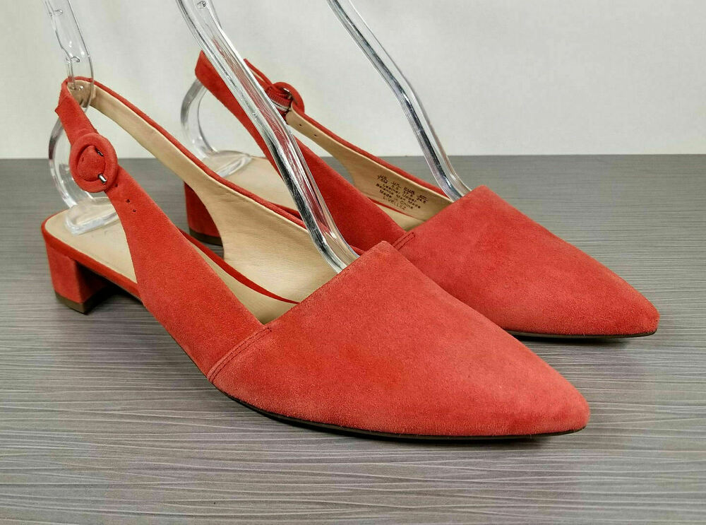 2c1aa0ee66 Details about Franco Sarto Vellez Slingback kitten heel Pumps, Red Suede,  Womens Size 7.5