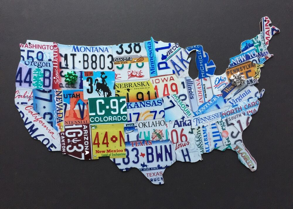Usa License Plate Map Heavy 14 Gage Metal Sign Nice Gift No Reserve - Us-map-made-out-of-license-plates