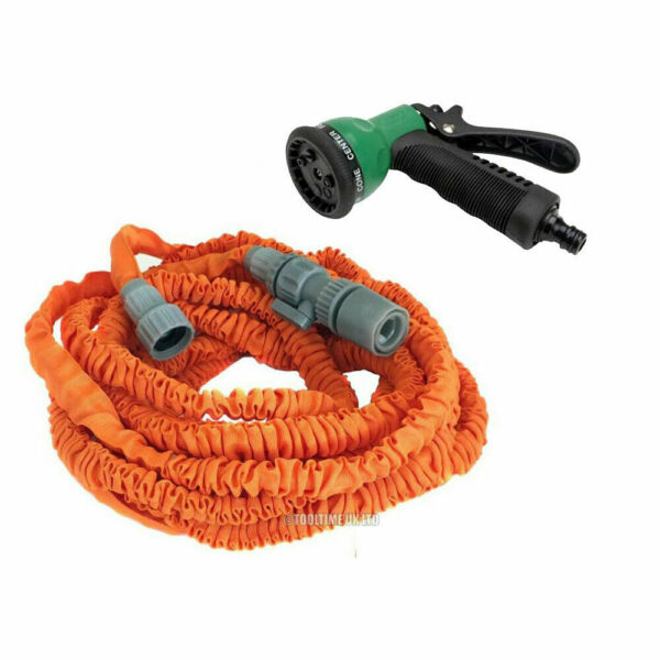 VOCHE 50ft ORANGE EXPANDING STRETCH COMPACT GARDEN HOSE PREMIUM 8 JET SPRAY GUN