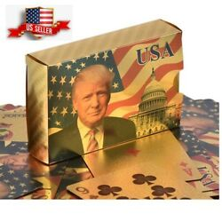 Kyпить NEW Donald Trump Gold Foil Waterproof Plastic Playing Poker Deck Game Cards USA на еВаy.соm