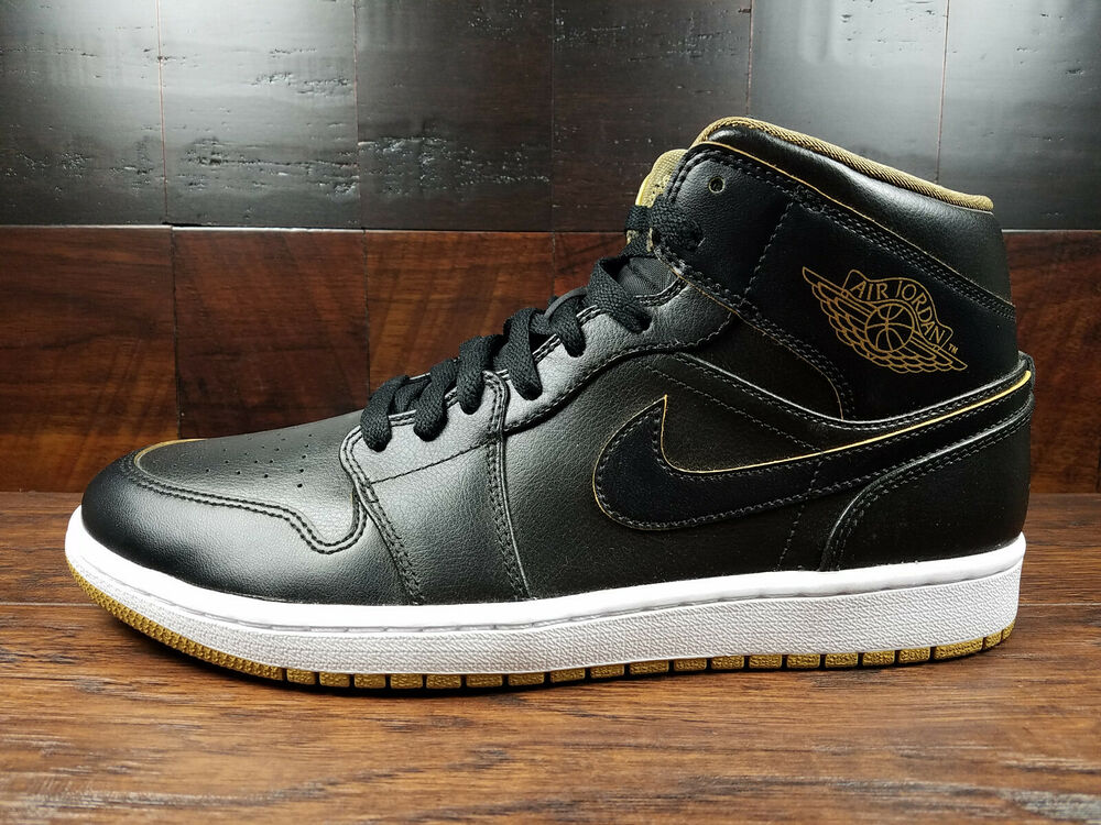 the latest 519f6 903fb Details about Air Jordan 1 Mid Retro (Black   Gold   White)  554724-042   Mens 10.5