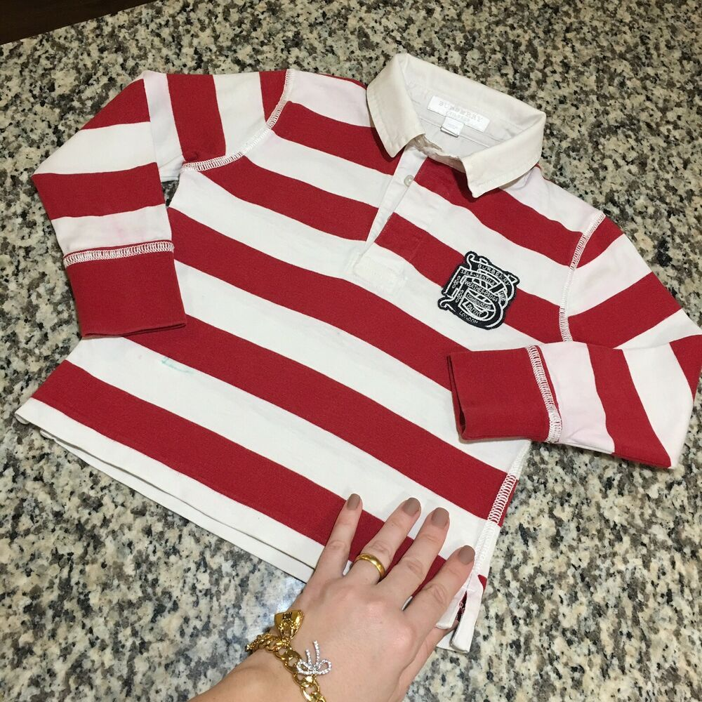 a979b4676 Details about 2T 24 Months Authentic Burberry Rugby Boys Polo Shirt  Children Toddler Long Slee