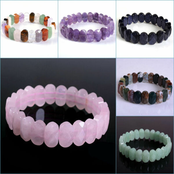 14mm Faceted oval gemstone beads stretchable bracelet 7