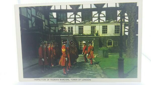 Vintage Postcard Inspection of Yeoman Warders at The Tower of London