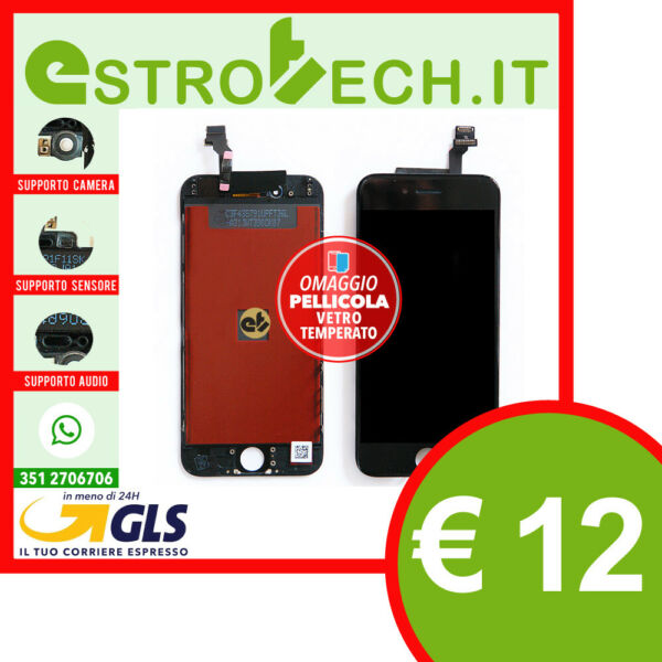 SCHERMO LCD PER IPHONE 6 NERO DISPLAY RETINA TIANMA ORIGINALE COMPLETO FRAME