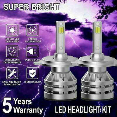 Pair H4 9003 2000W 300000LM CSP LED Headlight Hi-Lo beam Bulbs Dual Beams 6000K