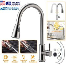 Kyпить Kitchen Sink Faucet Brushed Nickel Pull Out Head Sprayer Single Handle Mixer Tap на еВаy.соm